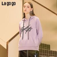 【清仓5折价179】Lagogo2019春季新款时尚连帽上衣 紫色甜美休闲卫衣女IAEE411A05