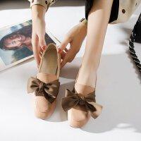 欧美高跟鞋女低跟3cm粗跟复古蝴蝶结英伦风圆头原宿皮鞋秋季单鞋