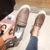 休闲鞋女2019春季新款时尚圆头低跟牛皮一脚蹬女鞋英伦风百搭女鞋