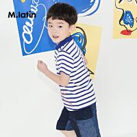 【3件2.5折后到手价:84.8元】马拉丁童装男童T恤2018夏新品翻领条纹舒适儿童T恤