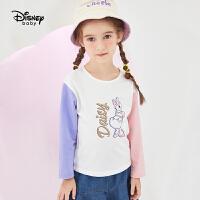【3折�A估�r:34.8元】迪士尼女童�L袖T恤春秋新款拼色�L袖�A�I洋�怊煳�和�����上衣