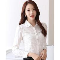 女修身雪纺打底衫女上衣潮新款韩版气质翻领长袖蕾丝衫