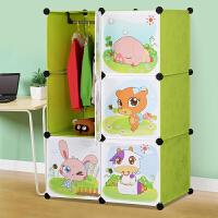 蜗家卡通衣柜简易儿童宝宝婴儿收纳柜组合塑料树脂组装衣橱衣柜3006/3106