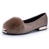 尖头毛毛豆豆鞋女士秋冬季外穿2018新款韩版平底时尚加绒百搭 卡其 升级版