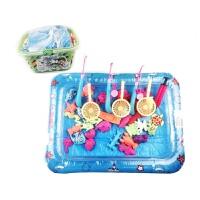 儿童戏水磁性钓鱼玩具套装宝宝洗澡玩具充气钓鱼池 9982D1 42件套+水池