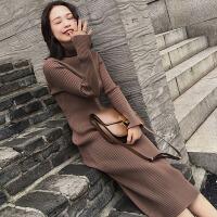 新年特惠2019秋冬新款加厚长款针织衫毛衣女修身套头显瘦打底