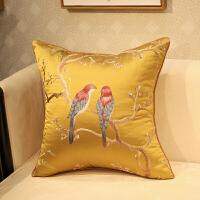 新中式抱枕刺绣花鸟古典红木沙发靠垫套床头软包办公室腰靠背含芯