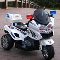 儿童电动摩托车三轮车大号可坐双人1-3-6岁小男孩女宝宝玩具警车 标配小电瓶单驱 白色