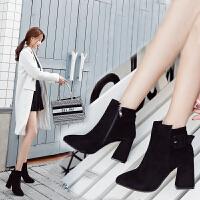 2018秋冬新品短筒马丁靴潮女短靴高跟粗跟尖头百搭加绒踝靴 黑色