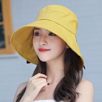 渔夫帽女夏遮阳帽韩版百搭防晒帽遮脸大沿可折叠太阳帽子