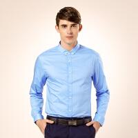 骆驼男装 新品秋季尖领扣领12纯色长袖商务休闲衬衫 男士衬衣