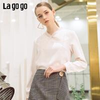 lagogo2019春季新款上衣很仙的设计感小众蝴蝶结衬衫女IASS532A11