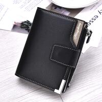 男士钱包短款带扣三折加厚竖款带拉链男用皮夹可以放驾驶证零钱
