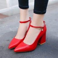 高跟鞋粗跟尖头鞋7cm3-5公分浅口工作小码33-34码单鞋红色婚鞋皮