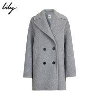 【开学季到手价:263元】 Lily冬新款女装商务OL撞色双排扣直筒毛呢大衣117410F1005
