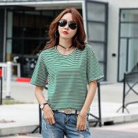 条纹短袖女宽松显瘦上衣棉t恤圆领韩版半袖衣服百搭夏装体恤衫