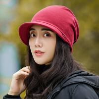 帽子女秋冬包头帽韩版时尚套头帽保暖月子帽百搭骑车两用头巾帽