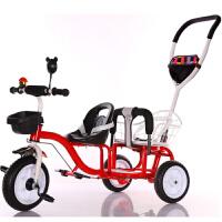 儿童双人三轮车脚踏车双胞胎推车前后双座婴儿车二胎三轮车可带人 桔红色 标配