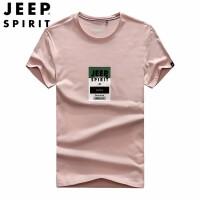吉普JEEP男装t恤 男短袖宽松体恤衫 2019新品薄款圆领休闲男士T恤上衣