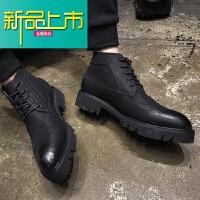 新品上市秋冬高帮男鞋英伦雕花厚底增高男靴马丁靴中筒皮靴靴