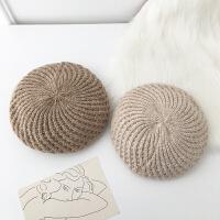 秋季毛线针织贝雷帽女简约韩版潮时尚保暖粗织帽子秋冬堆堆帽百搭