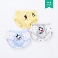 迪士尼男童三角内裤米奇卡通印花内裤宝宝儿童棉质底裤(三连包)