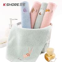 2条装金号儿童巾 纯棉小毛巾宝宝小孩洗脸面巾家用卡通软吸水全棉