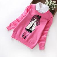 女童毛衣春秋假两件打底中大童小孩秋装薄款毛线衣儿童针织衫