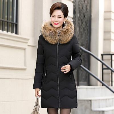 新款鸭鸭中老年羽绒服女中长款加厚修身毛领中年妈妈装大码外套冬