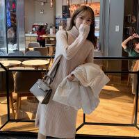 安妮纯高领羊绒连衣裙女中长款2020秋冬新款毛衣裙针织打底裙