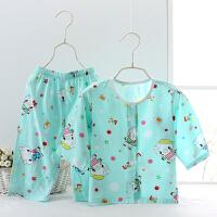 婴儿睡衣套装春秋长袖儿童小童女孩男女童宝宝绵绸家居服幼儿夏季