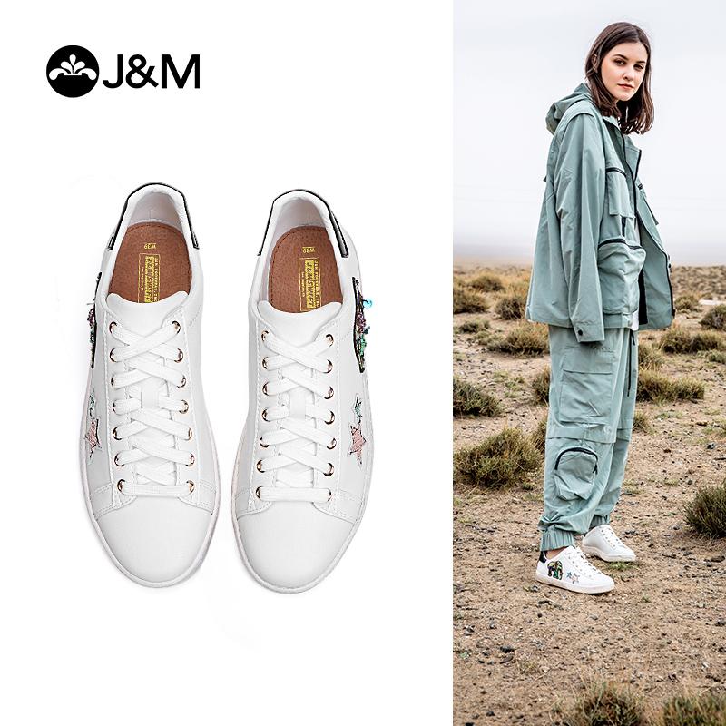 【秋品上新】JM快乐玛丽2019秋季新款平底女板鞋休闲系带涂鸦学生小白鞋111W