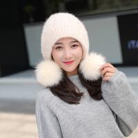 兔毛帽子女冬天针织毛线帽毛球护耳冬季新款双层加厚保暖时尚冬帽