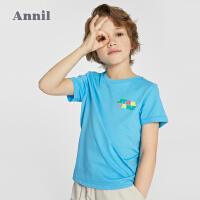 【1件5折】安奈儿男童T恤短袖2021新款迪士尼童装星球大战男生印花上衣夏装3