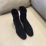 2019秋季新款袜靴百搭sw网红短靴子方头弹力靴粗跟中跟瘦瘦靴女鞋