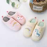 儿童棉拖鞋男童女童家居保暖防滑包跟厚底