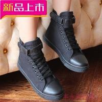 新款春夏帆布鞋女高帮平底小白鞋潮韩版休闲学生白色板鞋