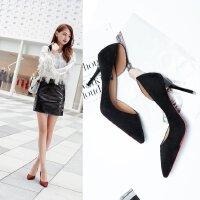 9厘米性感侧空性感显瘦高跟鞋女细跟韩版公主单鞋尖头礼服工作ol