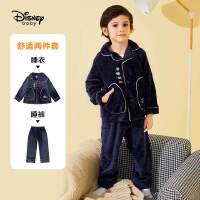 迪士尼男童加绒睡衣套装2020秋冬新款宝宝儿童休闲洋气家居服潮