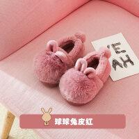 宝宝拖鞋冬女1-3岁滑婴幼儿可爱棉鞋儿童家居男软底包跟毛拖鞋