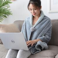 多功能羊羔绒毯子懒人毯斗篷纯色盖毯保暖小毛毯办公室午睡披肩毯定制
