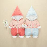 婴儿冬装女公主0-1岁宝宝连体衣秋冬外穿加绒加厚棉衣抱婴服3