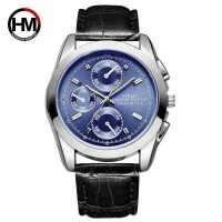 日本机芯男士运动手表防水夜光竹节纹手�l石英皮带手腕表