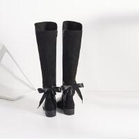 哈森旗下爱旅儿新品蝴蝶结绑带显瘦女款大高靴EA71512