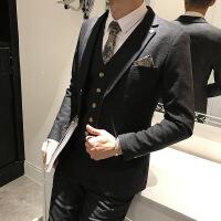 【秋冬新品】高端专柜品牌男士西服套装韩版修身三件套新郎礼服英伦风伴郎正装结婚西装外套