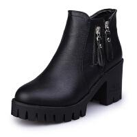 女鞋秋冬马丁靴2018新款潮韩版百搭英伦时尚少女高跟粗跟小跟短靴 黑色 单里