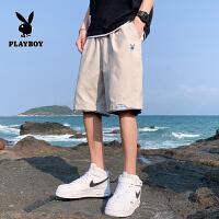 花花公子短裤男夏季薄款外穿五分潮宽松男士休闲裤