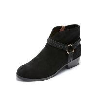哈森旗下爱旅儿女鞋帅气军靴皮带装饰扣短靴EA78203