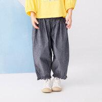 【秒杀价:180元】马拉丁童装女童裤子2020夏装新款抽褶设计宽松萝卜裤棉布中裤