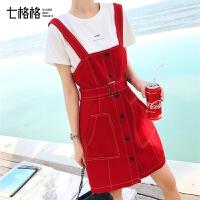 七格格红色连衣裙女夏装2019新款韩版气质收腰显瘦法式复古背带裙